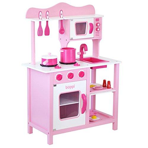boppi® Kinderspielküche - Küchenspielzeug aus Holz mit Zubehör 19-teilig