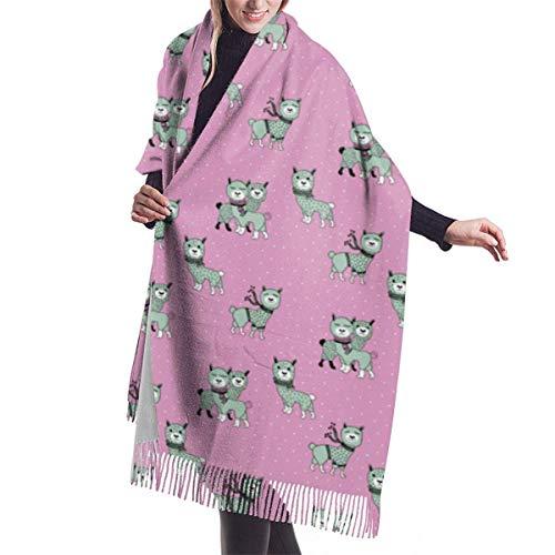 Navidad Llama Alpaca Invierno Wonderland Nieve Noche Rosa Menta Niñas Chal Abrigo Invierno Cálido Bufanda Capa Grande
