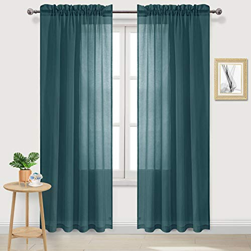 DWCN Hunter Green Sheer Curtains Semi Transparent Voile Rod Pocket Curtains for Bedroom and Living Room, 52 x 84 inches Long, Set of 2 Panels