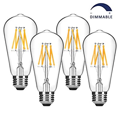 Dimmable Vintage LED Edison Bulbs 60W Equivalent, Warm White 2700K, 6W Decorative LED Filament Bulbs 600 Lumen, ST58 Antique LED Light Bulbs, E26 Medium Base, Pack of 4