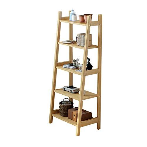 YLCJ 5 niveaus ladder rek massief hout boekenrek balkon bloemenstandaard vloer staand tegen de muur woonkamer slaapkamer keuken multilayer Storage Display Stand (kleur: notenboom kleur)