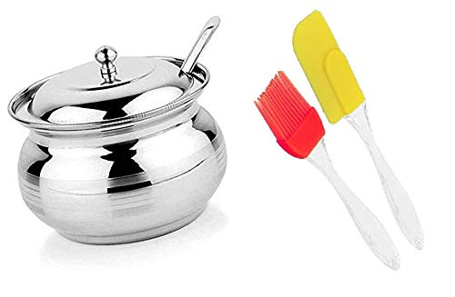 Vessel Crew Combo of Stainless Steel Ghee Oil Pot and Silicone Spetula & Oil Brush