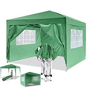 Eloklem Carpa con Paredes | Plegable, Impermeable, con Protección Solar, Ideal para Fiestas en el Jardín | Gazebo, Cenador, Pabellón, Tienda Fiestas (3x3 m, Verde)