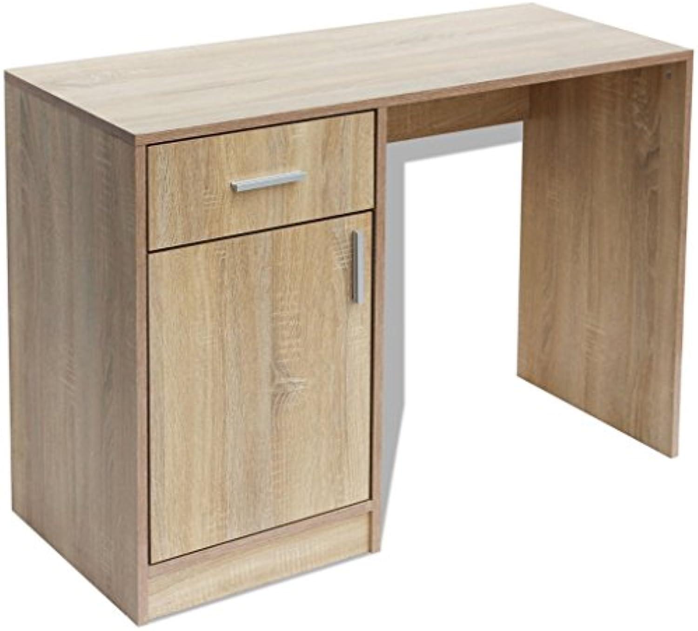 Festnight Schreibtisch mit Schublade und Schrank Arbeitstisch Computertisch Bürotisch 100x40x73cm für Büro Arbeitszimmer Kinderzimmer - Eichenbraun