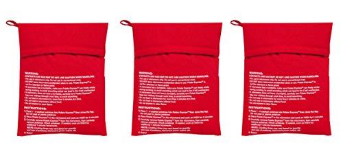 Paquete de 3 bolsas para cocinar patatas en microondas, perfecto para patatas en 4 – 6 minutos, color rojo