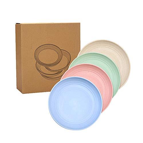 QPY 4 Platos de Paja de Trigo livianos - Platos de Paja de Trigo Aptos para lavavajillas y microondas, Platos de Cena irrompibles, saludables para niños, niñas y Adultos