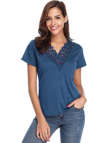 Abollria Camiseta Manga Corta para Mujer Camisa Algodón Casual Blusa con Bordado Sexy tee Shirt Cuello-V Deportivo T-Shirt Elasticidad Transpirable Basic Top para Verano