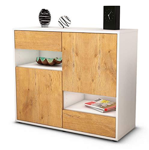 Stil.Zeit Sideboard Carmelina/Korpus Weiss matt/Front Holz-Design Eiche (92x79x35cm) Push-to-Open Technik & Leichtlaufschienen