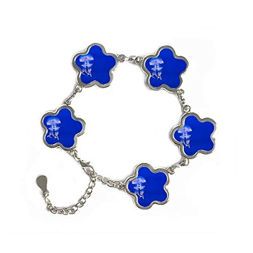 Ocean Jellyfish Science Nature Picture Flower Shape Metal Bracelet Chain Gifts Jewelry With Chain Decoration