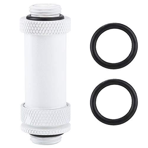 Bewinner G1 / 4 SSJD messing compensator met rubberen ring, telescopische lengte beschikbaar, compensator adapterstekker voor computer waterkoeling, wit (41-69mm)
