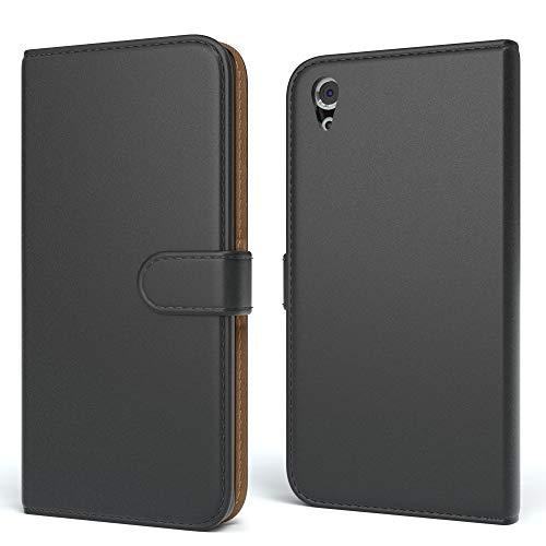 EAZY CASE Tasche für Sony Xperia X Performance Schutzhülle mit Standfunktion Klapphülle im Bookstyle, Handytasche Handyhülle Flip Cover mit Magnetverschluss & Kartenfach, Kunstleder, Schwarz