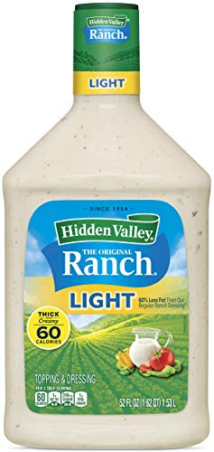 Hidden Valley Original Ranch Light Salad Dressing & Topping, Gluten Free, Keto-Friendly - 52 Ounce Bottle (Package May Vary)