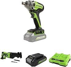Greenworks Tools Llave de impacto inalámbrica de batería + Batería sierra de sable GD24RS, 24V Li-Ion + Batería G24B2 2ª generación + Batería de doble ranura Cargador universal G24X2C