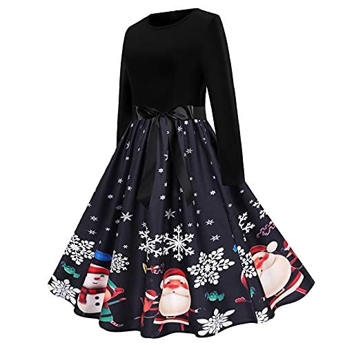 Damen Vintage Weihnachten Kleid 1950er Langarm Rundhals Abendkleid Damen Elegant A-Linie Kleid Partykleid Freizeitkleid Cocktailkleid Festlich Ballkleid mit Gürtel