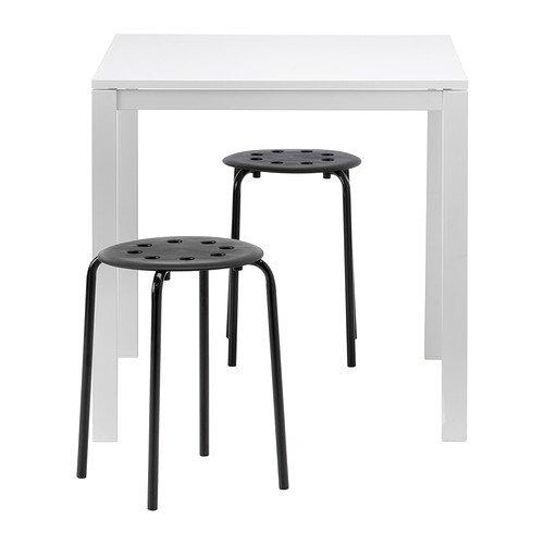 IKEA MELLTORP Vogel Topf/MARIUS, Tisch und 2 Stühle, weiß, schwarz, 75 cm