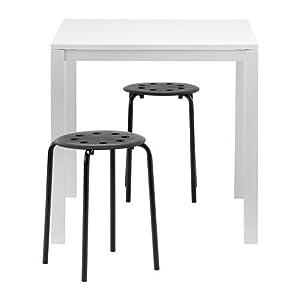 IKEA MELLTORP/MARIUS - mesa y 2 taburetes, blanco, negro - 75 cm