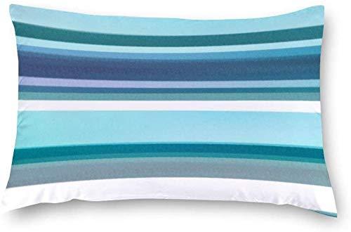 Aafndgsa - Fundas de cojín rectangulares (40 x 60 cm, algodón), diseño de Rayas Acuarelas, Color Lavanda, Turquesa y Blanco