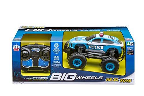 Re.El Toys SUV Big Wheels Polizia R/C-Scala 1:20 Mezzi Giocattolo Jeep E Quad, Multicolore, 8001059021208