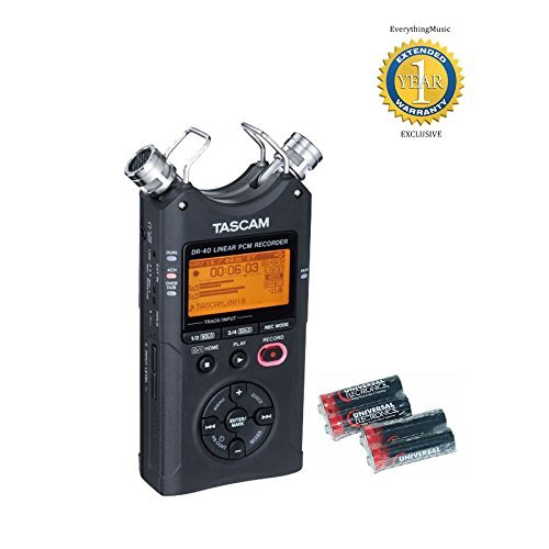 Tascam DR-40 V2 Versione 2 registratore PCM lineare a 96 kHz / 24-bit con 4 libera Universal Electronics batterie AA