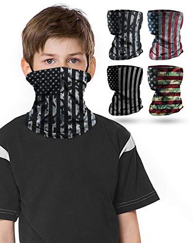 4 PCS Kids Face Mask Neck Gaiters Full-Coverage Bandanas Headband Tube Neck for Boys Girls(B American Flag/Pack of 4, 7-10T/8.2713.39inch)