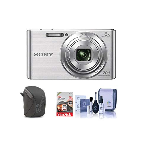 Sony Cyber-Shot DSC-W830 Digital Camera, 20.1MP, 8X Optical Zoom, Silver - Bundle with Camera Case, Class 10 SDHC Card, Cleaning Kit