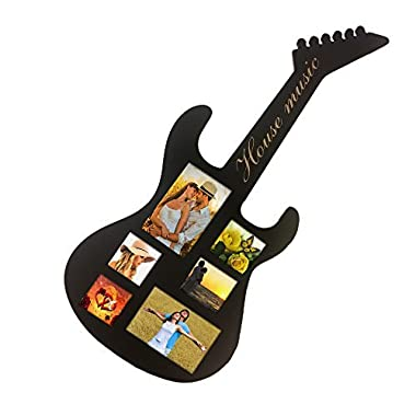 Decor Hut Musical Guitar Shaped Picture Frame Holds 6 Photos 3X3 & 4X6 House Music in Script on handle 28.5 inches Tall By