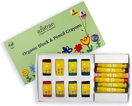 Azafran Organic Crayons Organic Block and Pencil Crayons, 6 Pencils Crayons and 8 Block Crayons - 111 Grams