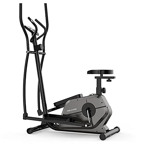 WELCARE WC 6066 Steel Elliptical Cross Trainer with LCD Display, Adjustable SEAT, Hand Pulse Sensor, Adjustable Resistance for Home USE (DIY Installation with Video Call Assistance), Grey