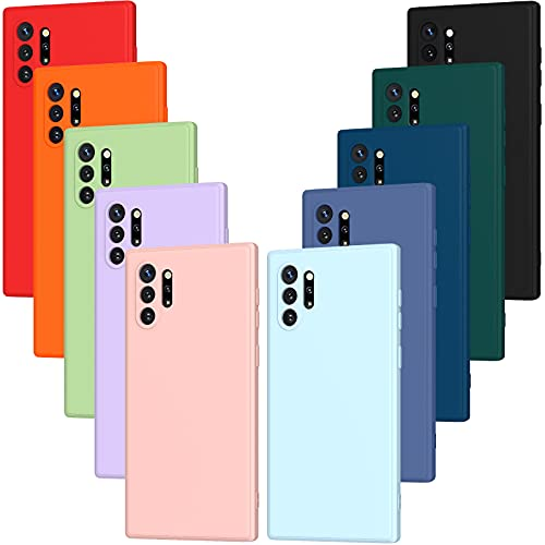 iVoler 10x Hülle für Samsung Galaxy Note 10+ / Note 10 Plus (5G), Ultra Dünn Tasche Schutzhülle Weiche TPU Silikon Handyhülle Hülle (Schwarz, Weiß, Blau, Grün, Dunkelgrün, Rosa, Rot, Gelb, Braun, Lila)