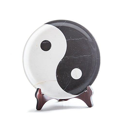Yuchengstone Yin Yang Assiette en marbre FengShui pour la décoration de la maison Assiette chinoise unique en marbre naturel Dimensions Ø/H : 30/3 cm Poids : env. 6 kg