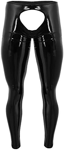 YONGHS Men s Wet Look PVC Leather Backless Tights Pants Leggings Long Trousers Black Medium product image