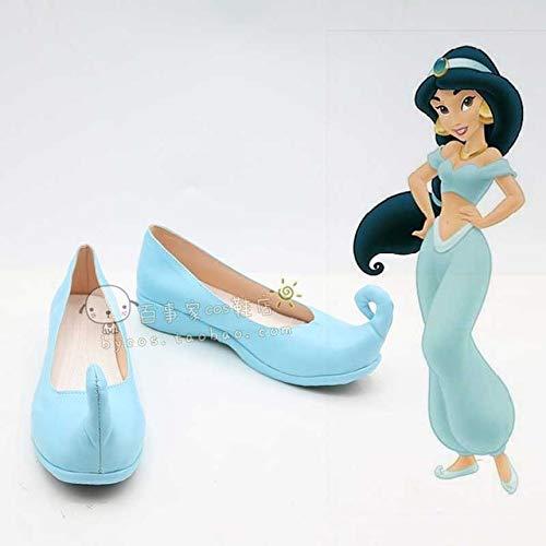 Aladdin Princess Cosplay schoenen en de magische lamp Prinses Jasmine Schoenen Indiase blauwe schoenen Kostuum Role Play kostuum 45 blauw