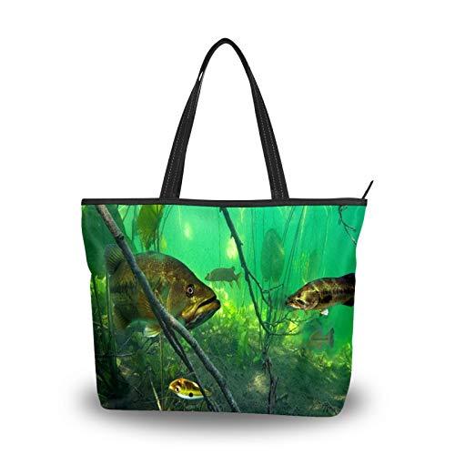 Bolsos de mano para mujer, gran capacidad, viajes, casual, compras, trabajo, con asa superior, bolsos de mano, bolsas de embrague de pescado, bolsas verdes