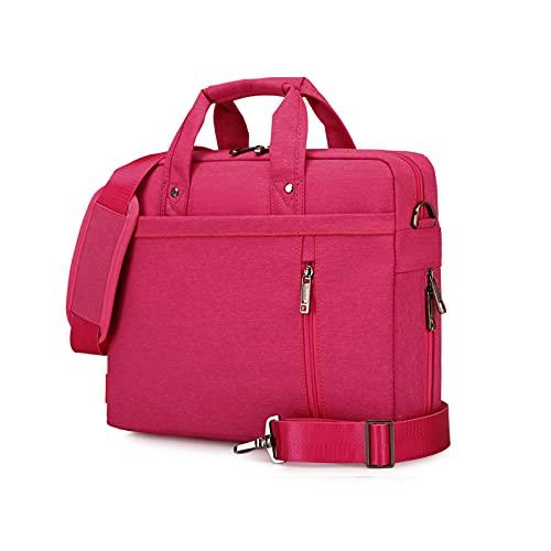 Laptop Bag Case Computer Shoulder Bag Briefcase Expandable Double Air-Cushion Water Resistant Work Bags Messenger for 17 inch PC Travel/Business/School/Notebook/Men/Women Hot Pink