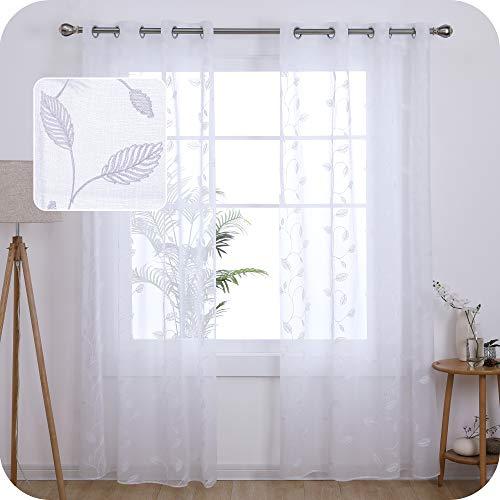 UMI. by Amazon Cortinas Translucidas Decorativas con Motivos Hojas con Ojales 2 Piezas 140x245cm Blanco