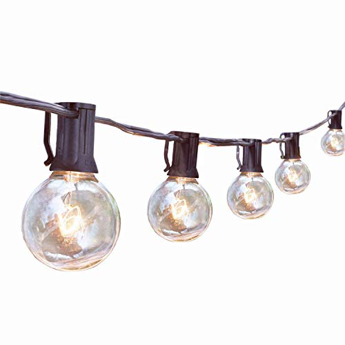 Outdoor String Lights, G40 25Ft Globe Bulbs Edison Style Patio String Light Lamp, Tungsten Bulbs Christmas String Lights for Garden Porch Backyard Party Yard Christmas Tree Decoration, USA UL Listed
