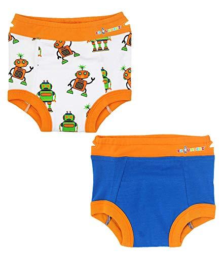 Bébés garçons, sous-vêtements pour Enfants avec Doublure rembourrée (2T, Robots-Blue Solid)
