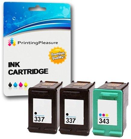 Printing Pleasure 3 Tintenpatronen kompatibel zu HP 337 343 für Photosmart 2500 2570 2573 2575 C4110 C4180 8050 DeskJet D4160 5940 6980 Officejet 6300 6310 6313 6315 - Schwarz/Color, hohe Kapazität