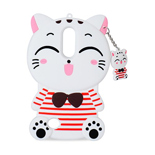 White Cat Case for LG Fortune 2,Aristo 2 X210,Cute 3D Cartoon Animal Cover,Kids Girls Soft Silicone Kawaii Character Skin for LG Zone 4,Risio 2/3,Rebel 2/3,Tribute Dynasty,Phoenix3,LG K8 2018,2017
