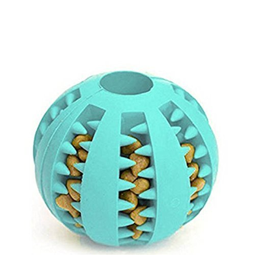 light snow Hundespielzeug Ball aus Naturkautschuk mit Zahnpflege Funktion | Dentalball ideal für Große & Kleine Hunde sowie zahnende Welpen (S, Blau)