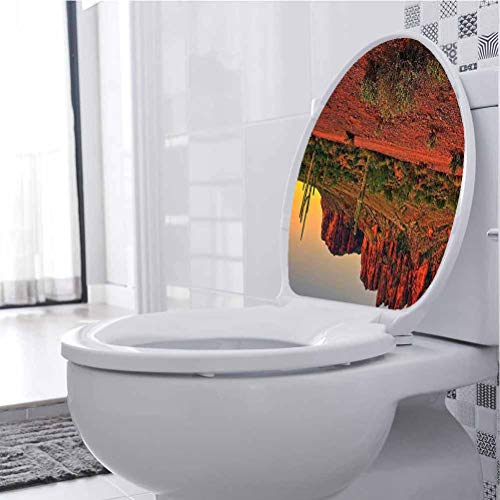 Homesonne Toilet Lid Cover Stickers Colorful Sunset View The ert Mountains Near Phoenix Ariz Usa 3D View PVC Wall Stickers Decor for Washroom Bathroom Shower Room Decors, 21 x 28 cm