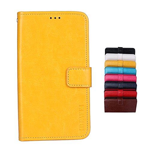 Brand Set Hülle für Lenovo K5 Pro Brieftasche Handyhülle Kunstleder Flip Case mit sicherer Magnetverschlussverriegelung & Stent-Funktion,geeignet für Lenovo K5 Pro (Gelb)