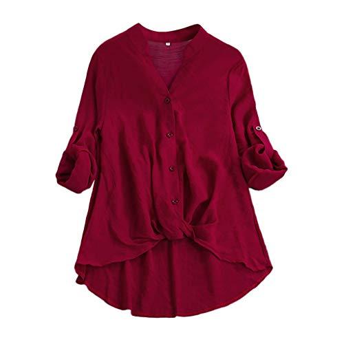 FRAUIT Frauen Baumwolle Leinen Kurzarm T-Shirt Elegante Damen Plus Größe Einfarbig Lose Shirt Vintage Bluse Pulli Weich Lose Bequem Elegant Freizeit Kleidung Bluse Tops