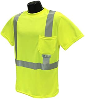 Radians ST11-2PGS-L High-Visibility Class 2 T-Shirt with Moisture Wicking Mesh, Large, Green