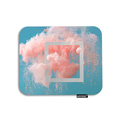 AOYEGO Cloud Mouse Pad Abstract Painting Coral Pink Pastel Blue Sky Gaming Mousepad Rubber Large Pad Non-Slip for Computer Laptop Office Work Desk 9.5x7.9 Inch
