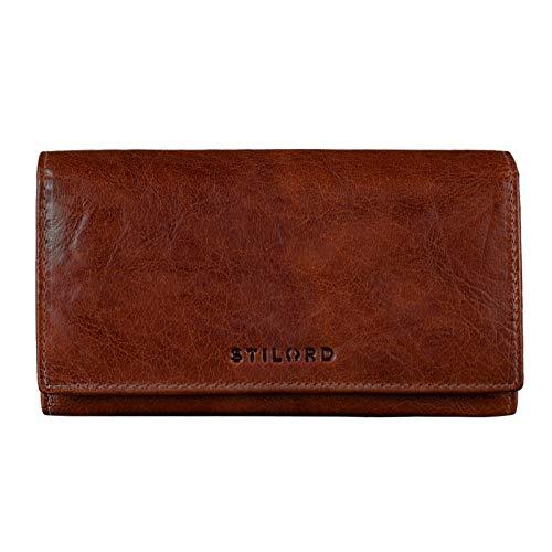 STILORD \'Marquesa\' Leder Geldbörse Damen RFID Schutz NFC Portmonnaie Damen Vintage Geldbeutel Groß Quer mit Ausleseschutz in Geschenkbox Echtleder, Farbe:Brandy - braun