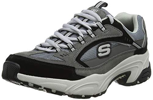 Skechers Stamina, Zapatillas para Mujer, Charcoal & Black Suede/Gray Mesh/White Trim Ccbk, 5 EU