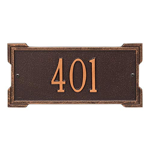 Whitehall Personalized Cast Metal Address Plaque - Mini Roanoke 12' x 5.75' House Number Sign -Allows Special Characters - Antique Copper