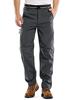 Jessie Kidden Mens Waterproof Hiking Pants, Outdoor Snow Ski Fishing Fleece Lined Insulated Soft Shell Winter Pants (6070 Grey, 34)