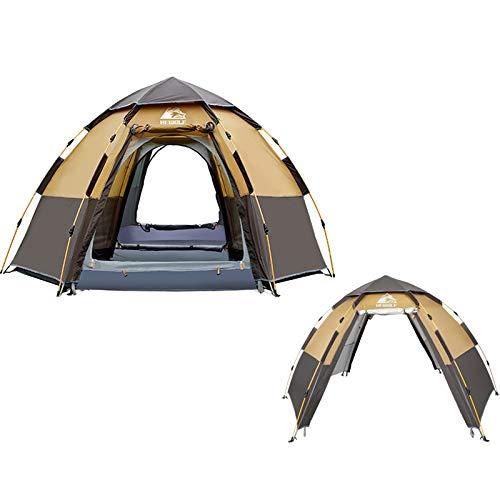 Zhouzl Prodotti da Campeggio Hewolf 1789 Outdoor Camping Tenda a Prova di Pioggia Automatica Esagonale, Versione Flagship (caffè) Prodotti da Campeggio (Colore : Coffee)
